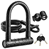 Bike U Lock,20mm Heavy Duty Combination Bicycle u LockShackle 4ft Length Security Cable with Sturdy Mounting Bracket and Key Anti Theft BicycleSecure Locks