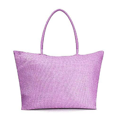 Inception Pro Infinite - Canvas Frau Tasche - Frau - Mädchen - groß - geräumig - im Stroh - originelle Geschenkidee - hellviolette Farbe