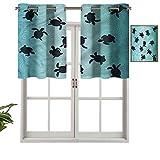 Hiiiman Cortina de ventana con filtro de luz con ojales, cenefa superior, tortugas bebé, set de 1, 127 x 45 cm para ventanas, dormitorio, cocina o baño
