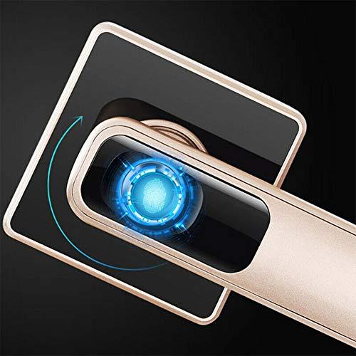 Elektronische Biometrische vingerafdrukdeurvergrendeling, sleutelloze deurvergrendeling Deadbolt voor de voordeur van de slaapkamer - ingebouwde oplaadbare batterij - zwart/goud