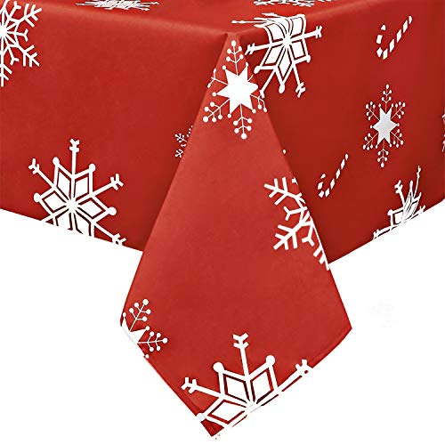 Obstal Rectangle Christmas Table Cloth, Oil-Proof Spill-Proof and Water Resistance Tablecloth, Decorative Fabric Table Cover for Outdoor and Indoor Use (60 x 84 inch, Snow-Flake)