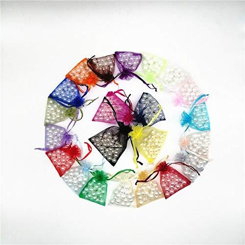 MURUI 100 bolsas de embalaje de joyería bolsas de joyería bolsas de organza bolsas de cordón bolsas de organza bolsas de embalaje de boda para joyería YC0221 (color: multicolor, tamaño: 9 x 12 cm)