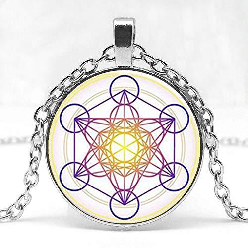 TUDUDU Metatron Rubik Cubo Colgante Collar Divina Geometría Flor Collar Chakra Espíritu Diosa Sesenta Collar