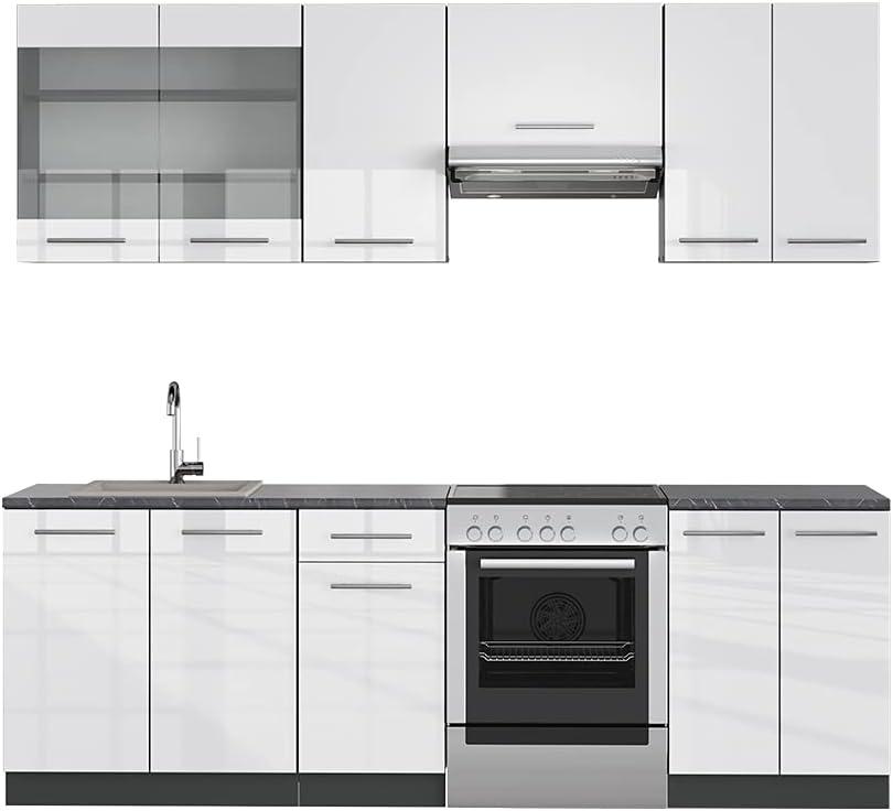 Vicco Küche Fame-Line Küchenzeile Küchenblock Einbauküche 240cm Hochglanz (Weiß Hochglanz)