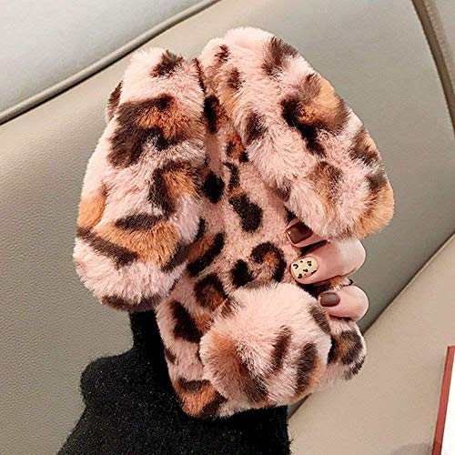 L-FADNUT Kompatibel mit iPhone 12 Pro Max Soft Rabbit Leopard Print Case Cute Bunny Ears Soft TPU Case with Bling Diamond Silicone Case Fluffy Winter Protective Back Bumper Plush Cover - Leopard Pink