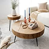 COZAYH 2-Piece Modern Farmhouse Living Room Coffee Table Set, Round Natural Finish with Handcrafted Wood Ring Motif
