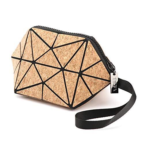 Tikea Bolsa Geométrica de Corcho Natural para Mujer, Caja de Maquillaje Ecológica de Moda, Bolsa de Cosmético Plegable Efecto Madera