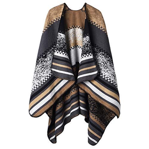 VBIGER Poncho Damen Winter Schal Elegant Cape Winterschal Damen Warm Wrap Winterdecke Offener Vorderponcho Umhang für Herbst Winter