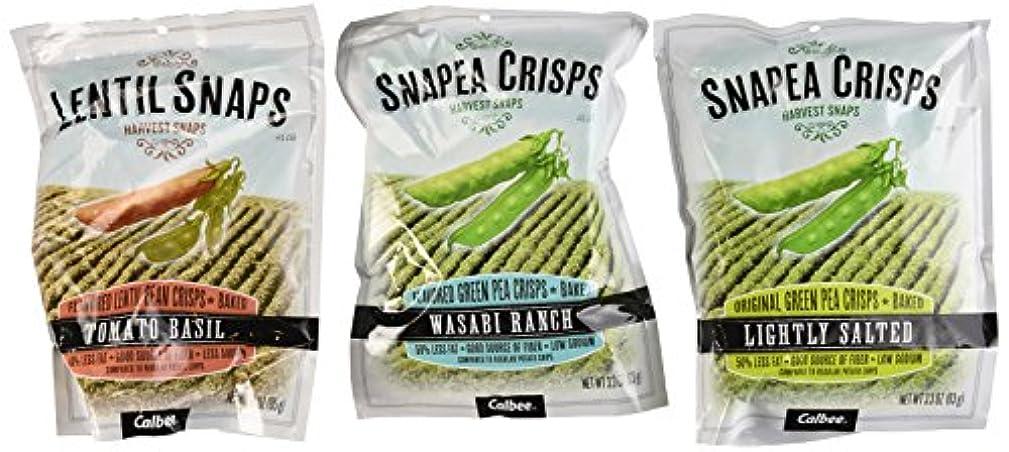 Harvest Snaps Snapea Crisps and Lentil Snaps 3 Flavor Variety Bundle: (1) Snapea Crisps Lightly Salted, (1) Snapea Crisps Wasabi Ranch, and (1) Lentil Snaps Tomato Basil , 3-3.3 Oz. Ea. (3 Bags Total)