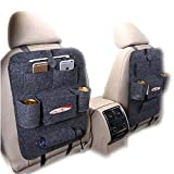 Rückenlehnenschutz auto,ZoneYan Rückenlehnen Tasche mit Rücksitz-Organizer,2 Stück Kinder Rücksitzschoner Kick-Matten-Schutz passend für die meisten den Autositz Grau