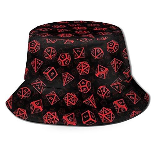 popluck D20 Juego de dados (rojo), unisex, sombrero de pescador, sombrero de pescador, sombrero de sol, plegable, impresión 3D, sombrero de playa al aire libre