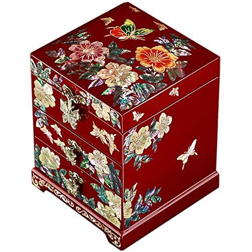 Caja de joyería de Laca Caja de Almacenamiento de Madera Diseño de Mariposa de nácar Diseño de joyería de Madera Baratija de Espejo Cajón del Tesoro Caja de Caja de Laca Organizador de Cofre