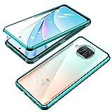 Jonwelsy Funda para Xiaomi Mi 10T Lite, Adsorción Magnética Parachoques Metal con 360 Grados Protección Case Cover Transparente Ambos Lados Vidrio Templado Cubierta para Xiaomi Mi 10T Lite (Verde)