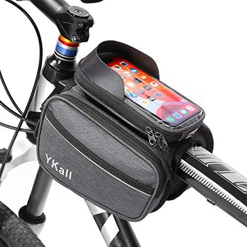 SENXINGYAN Borsa Telaio Bici, Impermeabile Borsa da Manubrio per Biciclette con Touchscreen, Accessori Bicicletta Bici da Corsa Ciclismo, Borse Biciclette Grande capacità per Telefoni sotto 6 Pollici