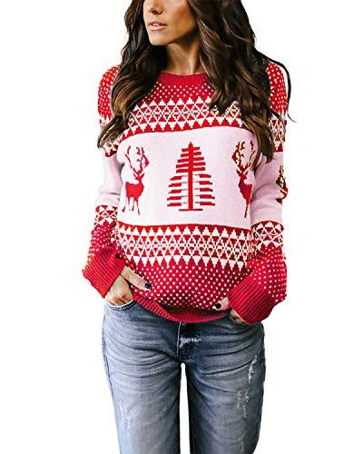 YOINS Pullover Damen Oberteile Elegant Oversize Strickpulli Rundhals Weihnachtspullover Rentiermuster Winter Christmas Sweater