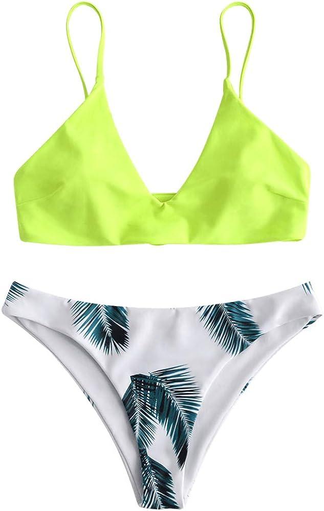 ZAFUL Women's Leaf Print Bathing Suits Adjustable Straps Bikini Set