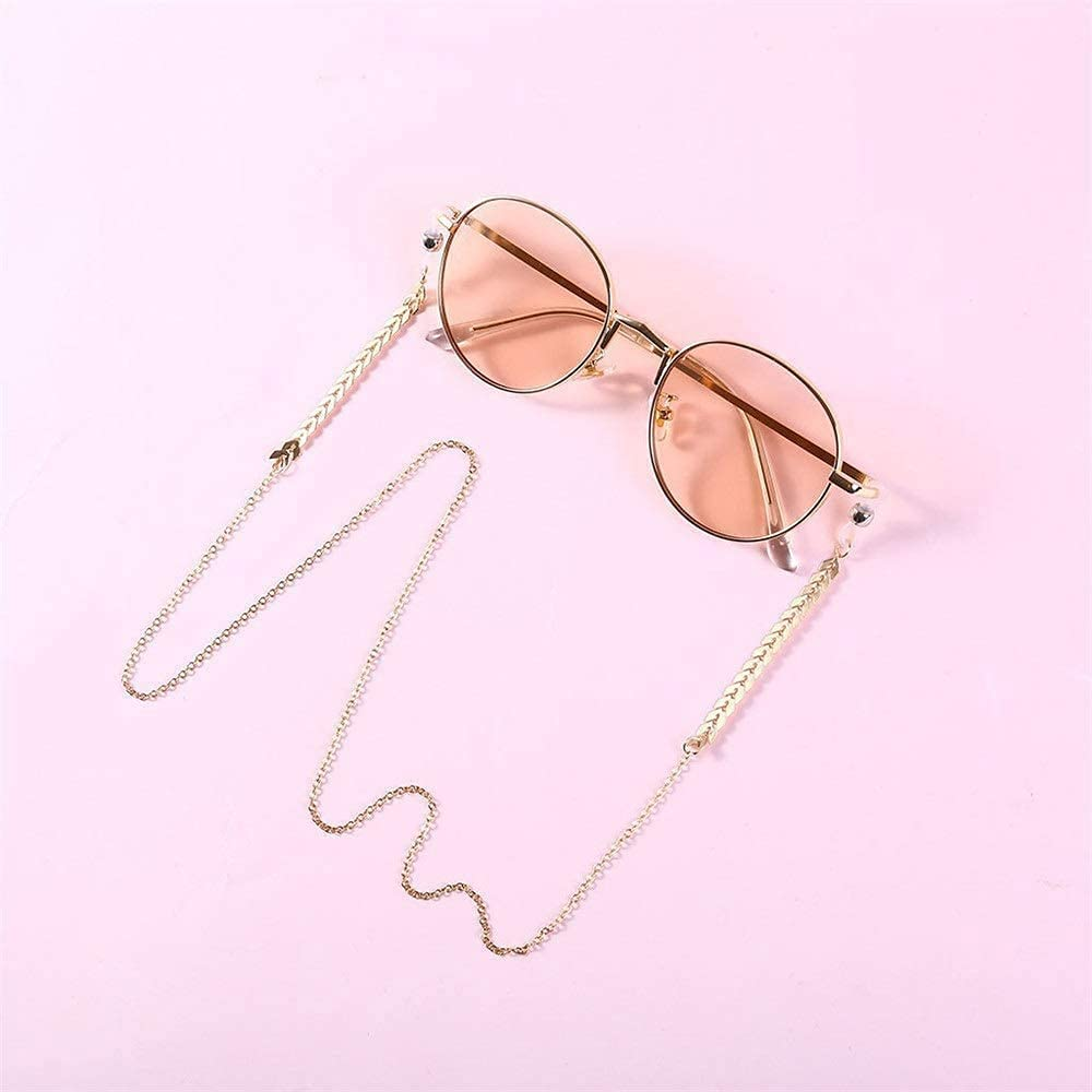 Pretty Glasses Chain Eyeglass Chain Metal Ladies Leaf Shaped Glasses Chain, Silicone Non Slip Glasses Lanyard Glasses Accessories for Women Eyeglass ASDDD (Color : Gold, Size : Free Size)
