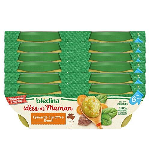 Blédina Idées de Maman Epinards Carottes Bœuf dès 6 mois 2 x 200 g - Pack de 6