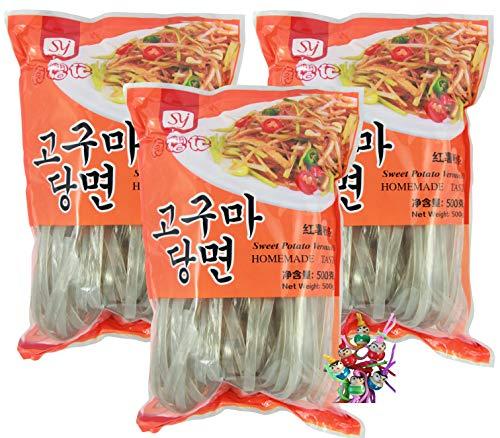 yoaxia ® - [ 3x 500g ] SYJ Breite Süßkartoffel-Vermicelli / Süßkartoffelstärke Nudeln / Korean Style + ein kleines Glückspüppchen - Holzpüppchen