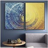 Pintura en lienzo Patrón abstracto de círculos azules y amarillos Carteles e impresiones modernos Cuadros de arte de pared para sala de estar Decoración del hogar 30x40cm (11.8 'x15.7') x2 Sin marco
