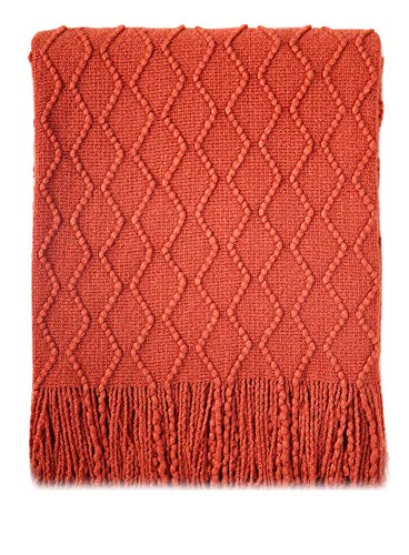 Bourina Textured Solid Soft Sofa Throw Couch Cover Knitted Decorative Blanket, 50' x 60', Rust
