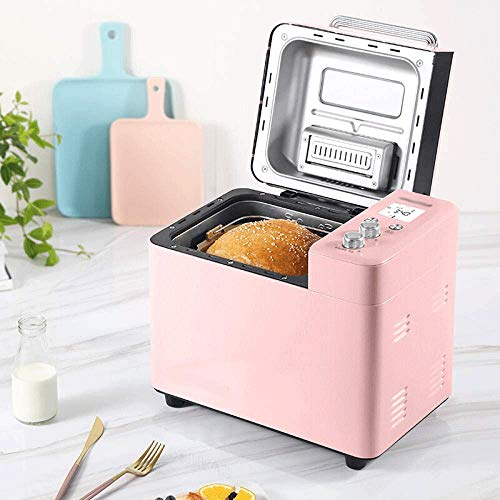 Stainless Steel Brood Machine, automatische broodmachine, ontbijt, Multi-Function Dough Mixer, yoghurt, elektrische oven (Color : Pink)