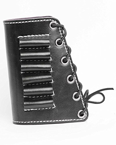 vsdfvsdfv D Leather Rifle Butt Cuff Hunting Shooting Rifle Buttstock Cheek Rest Pad with Shell Holder (Black, 45-70)