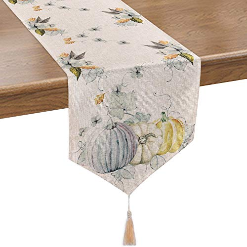 Smurfs Yingda Pumpkin Autumn Leaves Table Runner Watercolor Table Runner for Thanksgiving Day, Autumn, Fall, Catering Events, Dinner Parties, Wedding, Indoor and Outdoor Parties(14 × 70 inches)