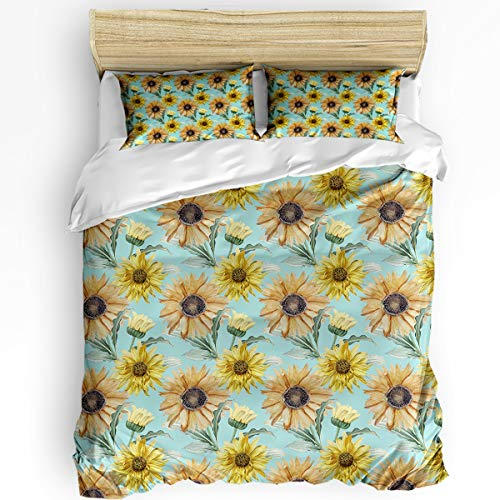 3 Pcs Twin Duvet Cover Set - Nature Sunflower Branch with Blooms Plant Garden Elegance Watercolor Soft Breathable Bedding Set with Zipper Closure and 2 Pillow Shams (Not Including Comforter)
