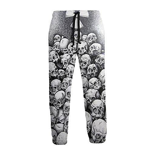 Inaayayi Grunge Scary Skulls Dark Sketchy Unisex Jogger Freizeithose 3D Druck Sporthose Herren Jogging Sweatpants Gr. 31-35, weiß
