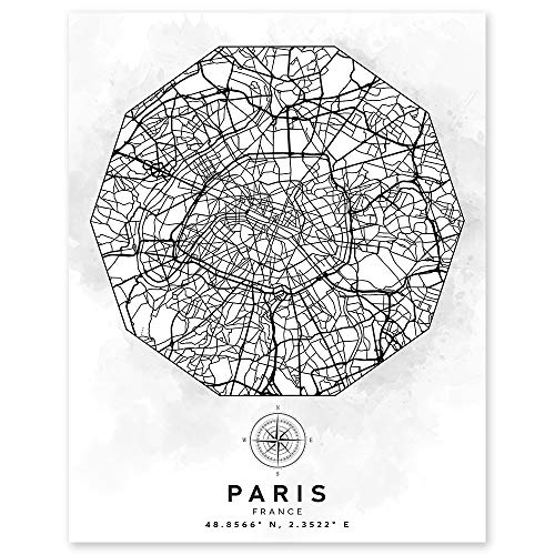 Paris France Street Map Wall Art - Aerial Road View - 11 x 14 Unframed Minimalist Art Decor - Black & White Abstract Print - Ideal Gift for World Travelers, Architects, Civil Engineers