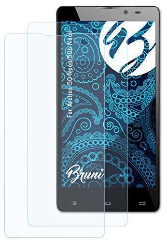 Bruni Schutzfolie kompatibel mit Archos 50 Neon/50b Neon Folie, glasklare Bildschirmschutzfolie (2X)