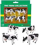 TOYLAND Pack de 4 - Vacas de Ganado frisón a Escala 1:32 - The Farm Collection - Animales de Corral coleccionables