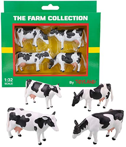 Toyland Pack of 4 - 1:32 Scale Friesian Cattle Cows - The Farm Collection - Collectable Farmyard Animals