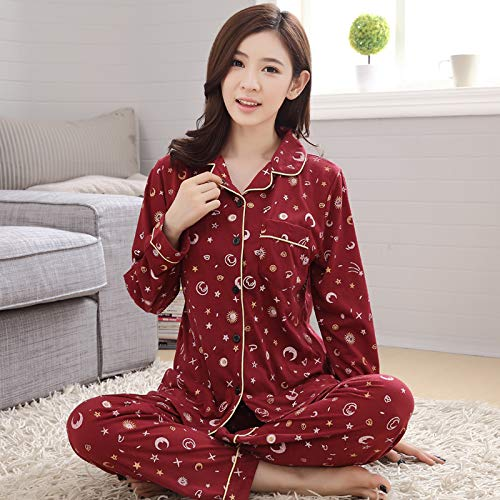 KNJLH Sleepwear/Ladies/Spring/Cotton Long Sleeve Suit For Middle-Aged and Old Mothers,[Free Freight Insurance],Deep Wine Red Long Sleeves,Pure Cotton 5828 Has A Small Moon