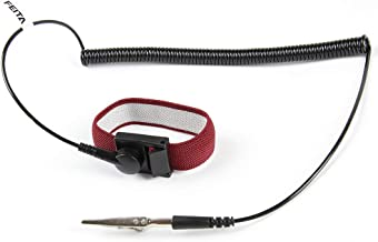 Anti Static ESD Wrist Strap - FEITA Antistatic Bracelet with 8 Feet Grounding Wire - Static-Release Wristband with Clip - Wine Red - 1 Pc
