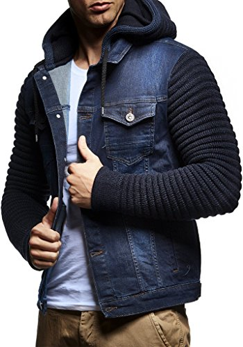 Blue Jean Jacket With Hood for Men's
