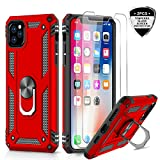 iPhone 11 Pro Max Case with Tempered Glass Screen Protector [2Pack], LeYi Military Grade Armor Phone Cover Case with Ring Magnetic Car Mount Kickstand for Apple iPhone 11 Pro Max 6.5 inch, JSFS Red