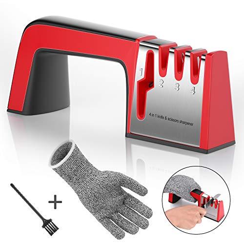 Joyoldelf Messerschaerfer,Messerschärfer Profi-Küchenmesser Knife Sharpener Schärfen 4 in 1 Messerschleifer mit Reinigungsbürste und Schnittfeste Handschuhe(ROT)