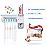 MECO UV Toothbrush Holder, 5 Toothbrush Sterilizer Holder + Automatic Toothpaste Dispenser Wall