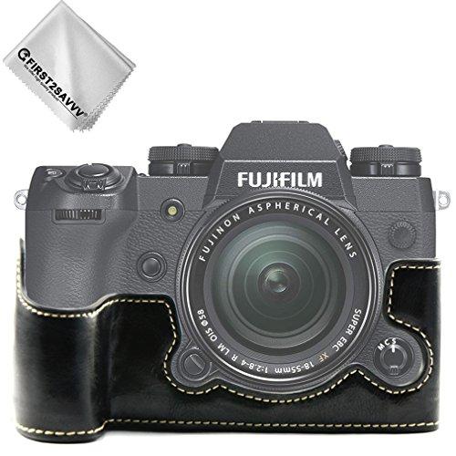 First2savvv Schwarz Gehäusehälfte Präzise Passform PU-Leder Kameratasche Fall Tasche Cover für Fuji Fujifilm X-H1 XH1 - XJPT-XH1-D01G11