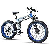 """SMLRO Vélos électriques Pliant pour Adultes, 26"""" VTT électrique avec Moteur Haute Vitesse 350W/500W/1000W, Fat Bike avec Batterie Amovible au Lithium 48V 10.4Ah pour Hommes Femmes"""
