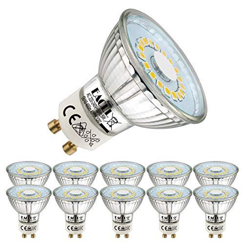 Bombillas LED EACLL GU10 Fuente de luz blanca neutra 5W 4000K 495 lúmenes, equivalente incandescente halógena de 50W. Focos reflectores de haz ancho de 120 °, CA 230 V sin parpadeo, paquete de 10