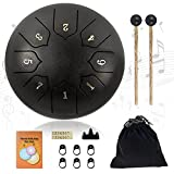 Steel Tongue Drum, Hantop 6-Inches 8-Notes Drum Set, Lotus Ethereal Drum, Percussion Instrument Handpan Drum with Travel Bag, Drumsticks and Music Book for Meditation Entertainment Concert Yoga, Black