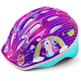 ELLOLLA Colorful Kids Bike Helmet,Size Adjustable and Lightweight Children Bicycle Helmet for Girls Boys 50-54cm(Aged 5-13),Multi-Sport for Skating Scooter Cycling from Toddler to Youth (Purple)