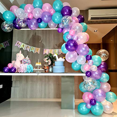 RC&Z Unicorn Balloons Arch & Mermaid Balloon Garland Kit - 116 Pearl Purple Pink Mint Green White Latex Balloons with Silver Confetti for Wedding Baby Shower Unicorn Mermaid Birthday Party Decorations