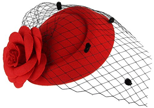 GEMVIE Serre Tête Femme Mariage Bibi Chapeau Voilette Fleur Coiffure Mariée Rouge