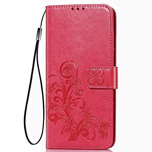 LAGUI Passend für Samsung Galaxy M11 Hülle, Schönes Muster Brieftasche Handyhülle. Rot