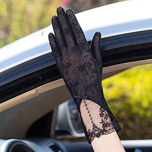 Guantes Sexis de Verano para Mujer con protección Solar UV, Guantes Cortos para Mujer, Moda, Encaje de Seda de Hielo, conducción de Pantalla táctil Fina, Guantes para Mujer-05C Black
