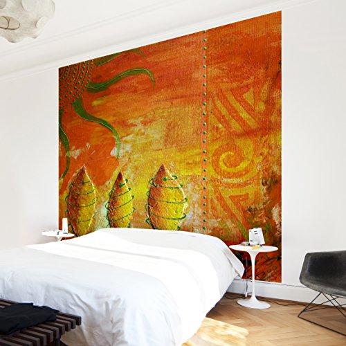 Apalis Waldtapete Vliestapete African Happiness Fototapete Quadrat   Vlies Tapete Wandtapete Wandbild Foto 3D Fototapete für Schlafzimmer Wohnzimmer Küche   Größe: 336x336 cm, gelb, 97478